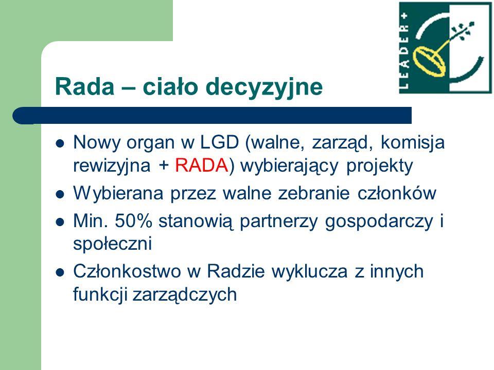 Rada – ciało decyzyjne Nowy organ w LGD (walne, zarząd, komisja rewizyjna + RADA) wybierający projekty Wybierana przez walne zebranie członków Min. 50
