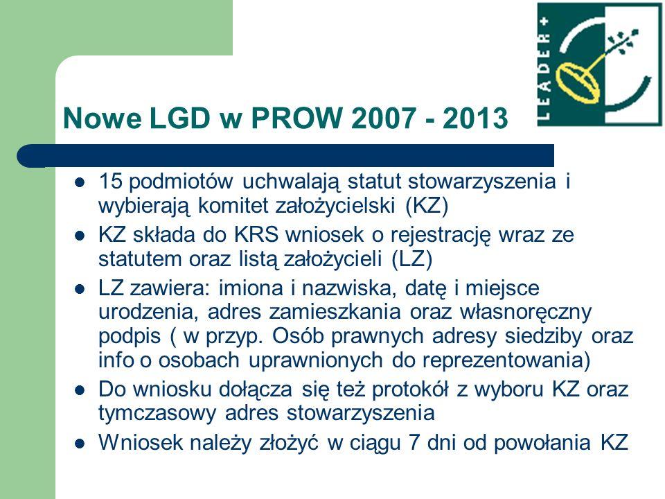 Nowe LGD w PROW 2007 - 2013 15 podmiotów uchwalają statut stowarzyszenia i wybierają komitet założycielski (KZ) KZ składa do KRS wniosek o rejestrację wraz ze statutem oraz listą założycieli (LZ) LZ zawiera: imiona i nazwiska, datę i miejsce urodzenia, adres zamieszkania oraz własnoręczny podpis ( w przyp.