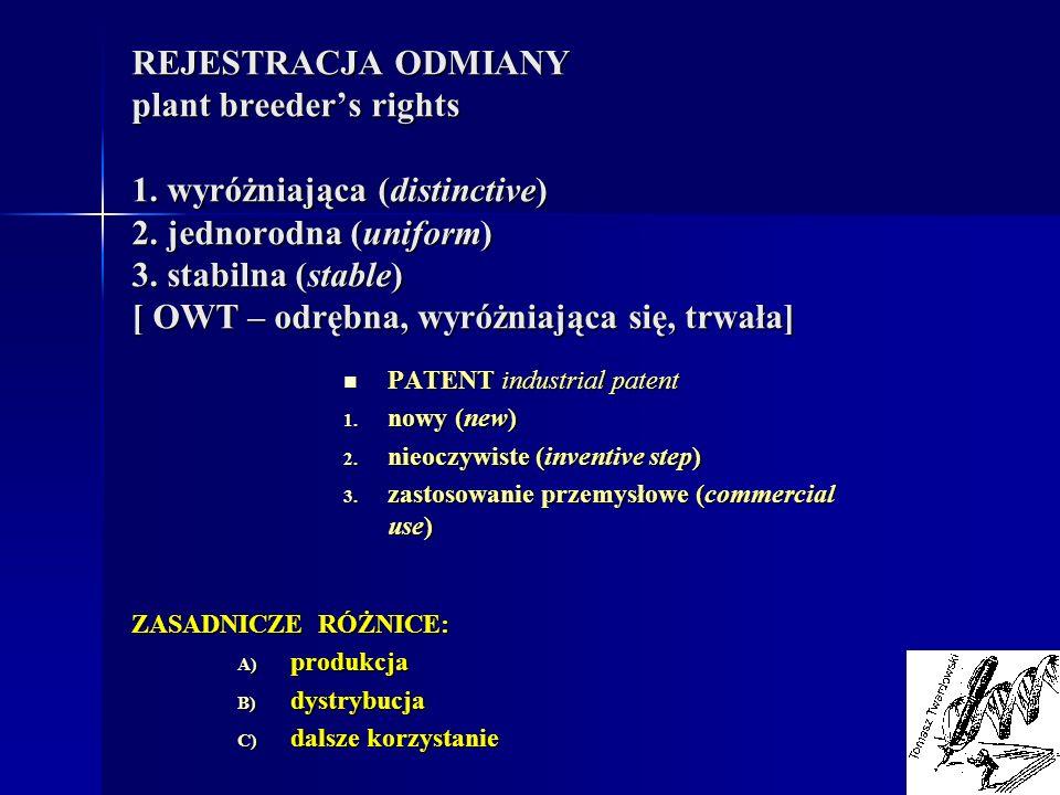 REJESTRACJA ODMIANY plant breeders rights 1. wyróżniająca (distinctive) 2. jednorodna (uniform) 3. stabilna (stable) [ OWT – odrębna, wyróżniająca się