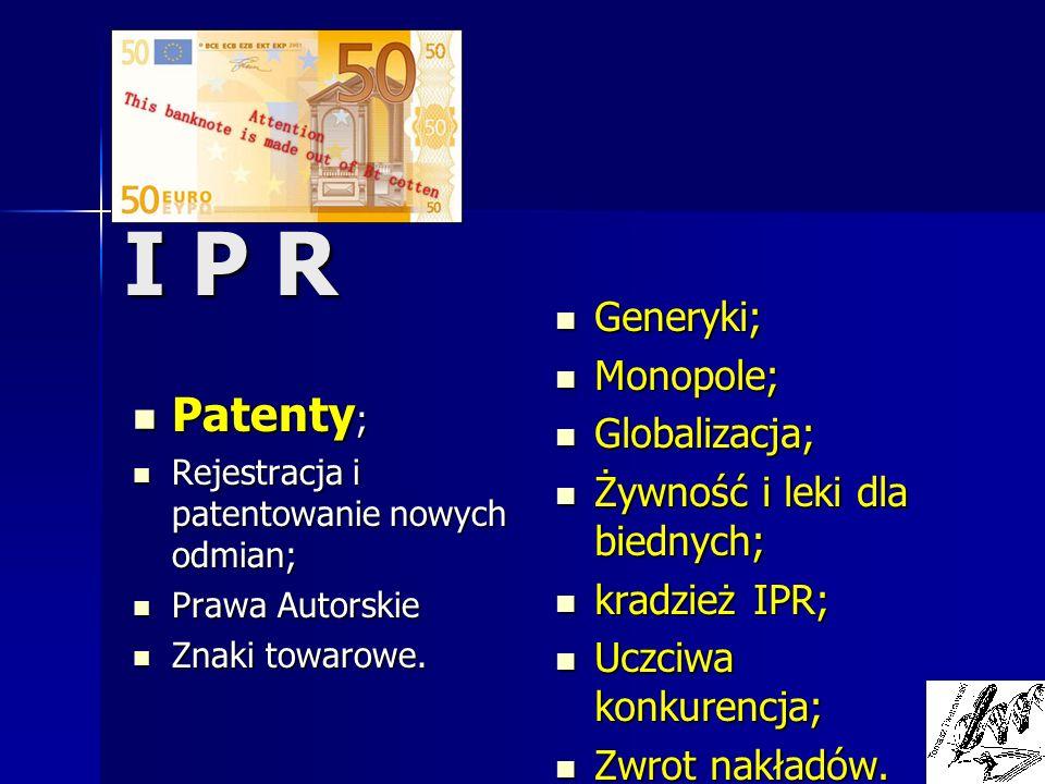 I P R Patenty ; Patenty ; Rejestracja i patentowanie nowych odmian; Rejestracja i patentowanie nowych odmian; Prawa Autorskie Prawa Autorskie Znaki to