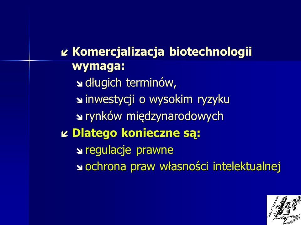 í Komercjalizacja biotechnologii wymaga: î długich terminów, î inwestycji o wysokim ryzyku î rynków międzynarodowych í Dlatego konieczne są: î regulac