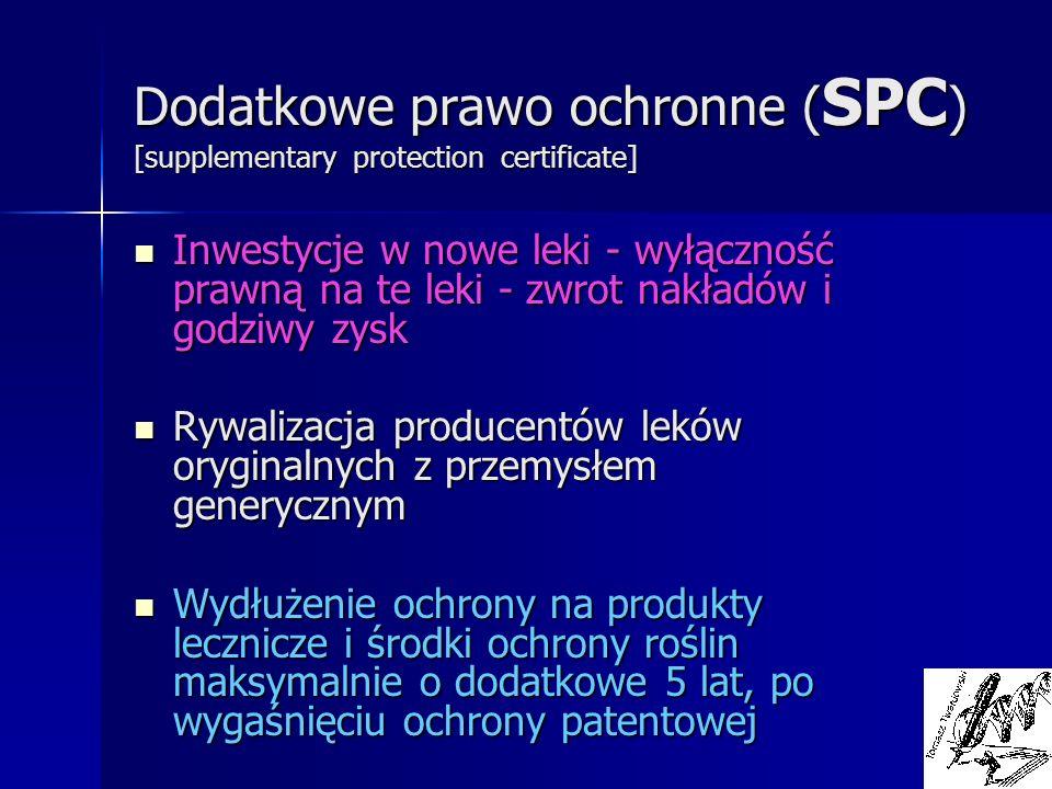 Dodatkowe prawo ochronne ( SPC ) [supplementary protection certificate] Inwestycje w nowe leki - wyłączność prawną na te leki - zwrot nakładów i godzi