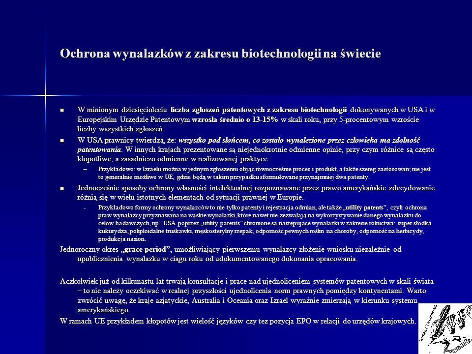 Ochrona wynalazków z zakresu biotechnologii na świecie W minionym dziesięcioleciu liczba zgłoszeń patentowych z zakresu biotechnologii dokonywanych w