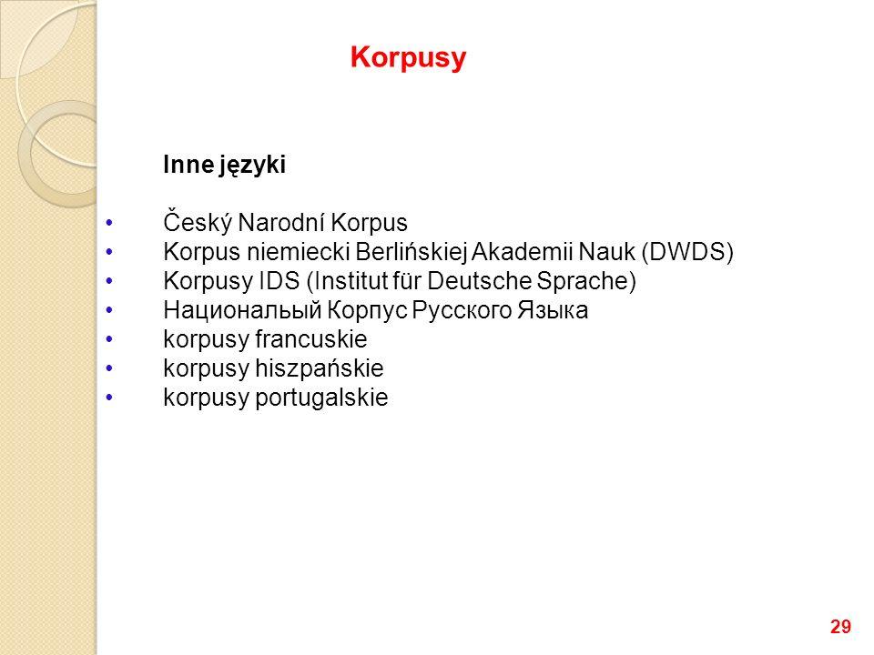 Inne języki Český Narodní Korpus Korpus niemiecki Berlińskiej Akademii Nauk (DWDS) Korpusy IDS (Institut für Deutsche Sprache) Национальый Корпус Русс