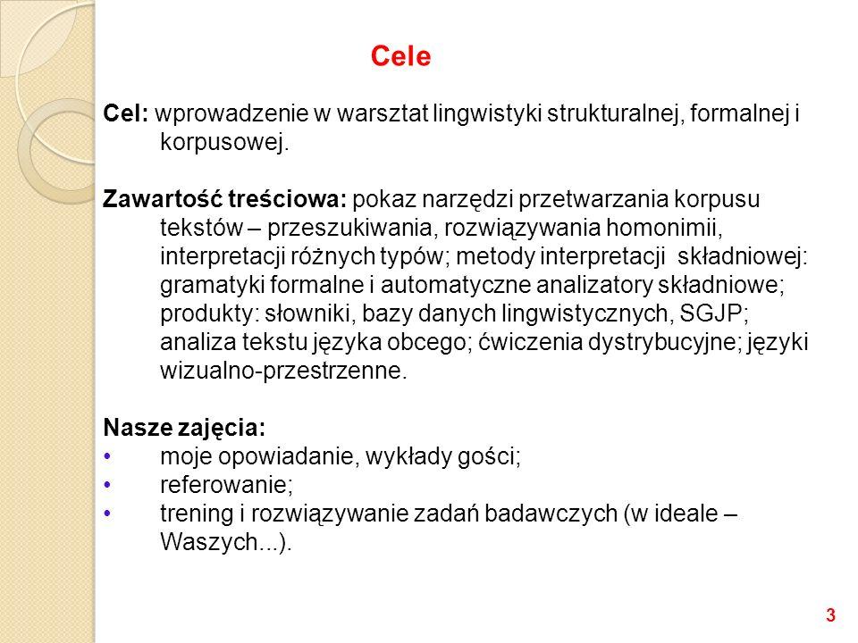 Cel: wprowadzenie w warsztat lingwistyki strukturalnej, formalnej i korpusowej. Zawartość treściowa: pokaz narzędzi przetwarzania korpusu tekstów – pr
