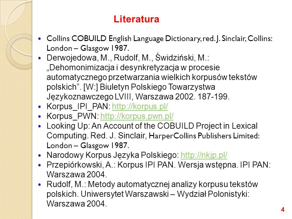 Collins COBUILD English Language Dictionary, red. J. Sinclair, Collins: London – Glasgow 1987. Derwojedowa, M., Rudolf, M., Świdziński, M.: Dehomonimi