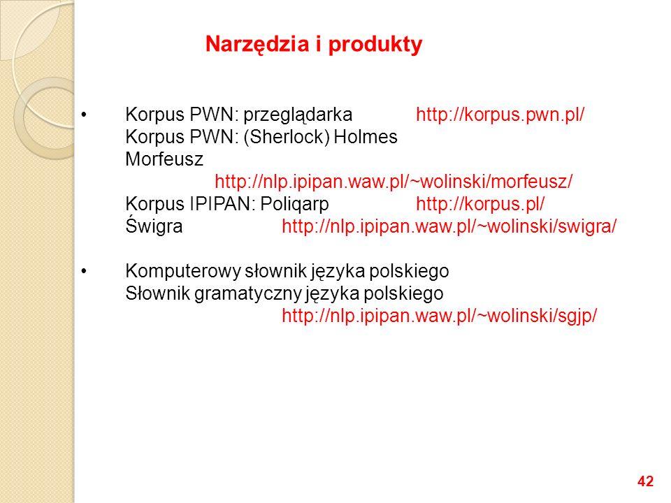 Korpus PWN: przeglądarkahttp://korpus.pwn.pl/ Korpus PWN: (Sherlock) Holmes Morfeusz http://nlp.ipipan.waw.pl/~wolinski/morfeusz/ Korpus IPIPAN: Poliq