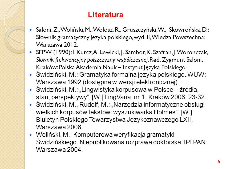 Saloni, Z., Woliński, M., Wołosz, R., Gruszczyński, W., Skowrońska, D.: Słownik gramatyczny języka polskiego, wyd. II, Wiedza Powszechna: Warszawa 201