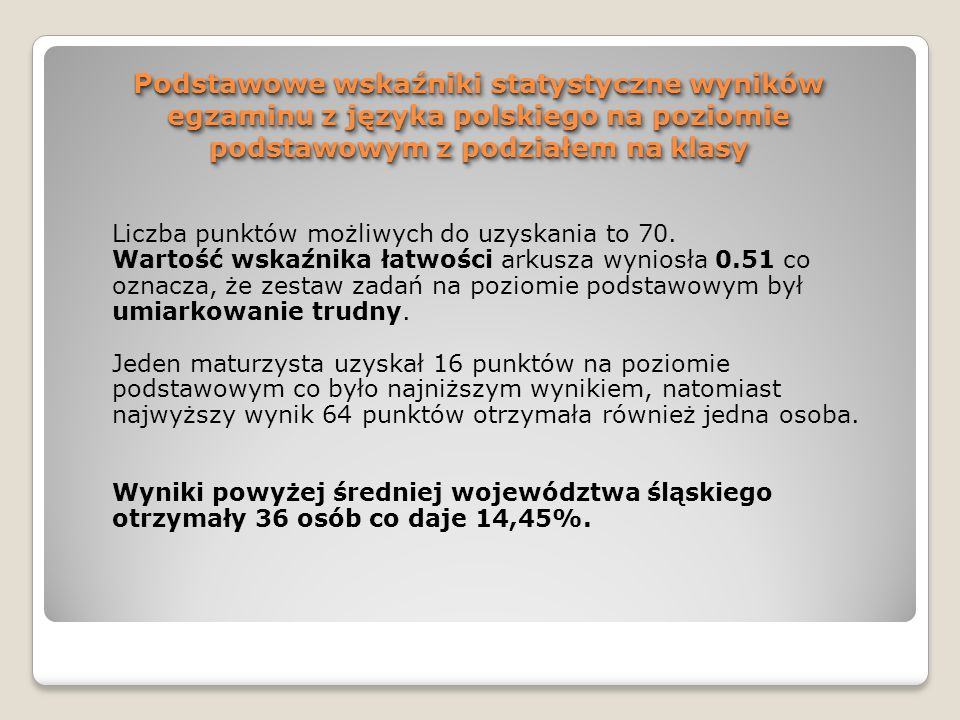 WNIOSKI – j.polski 3.Współczynnik łatwości całego arkusza egzaminacyjnego wynosi 0,51, co oznacza, że był umiarkowanie trudny.