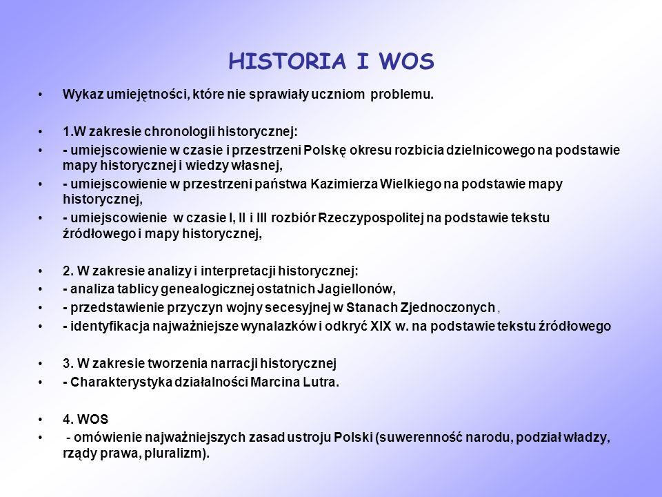 HISTORIA I WOS Wykaz umiejętności, które nie sprawiały uczniom problemu. 1.W zakresie chronologii historycznej: - umiejscowienie w czasie i przestrzen