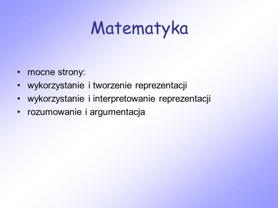Matematyka mocne strony: wykorzystanie i tworzenie reprezentacji wykorzystanie i interpretowanie reprezentacji rozumowanie i argumentacja