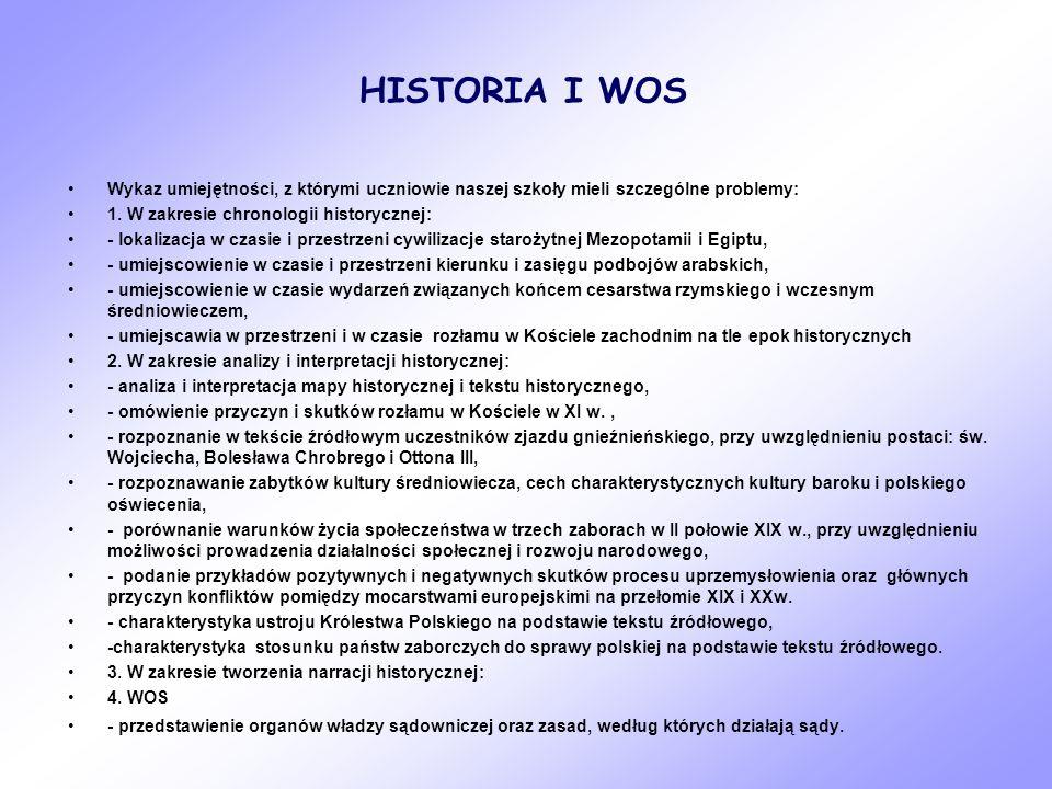 HISTORIA I WOS Wykaz umiejętności, z którymi uczniowie naszej szkoły mieli szczególne problemy: 1. W zakresie chronologii historycznej: - lokalizacja