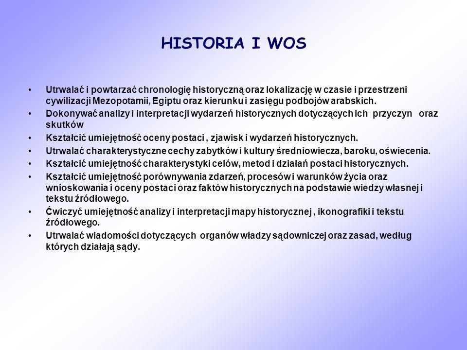 HISTORIA I WOS Utrwalać i powtarzać chronologię historyczną oraz lokalizację w czasie i przestrzeni cywilizacji Mezopotamii, Egiptu oraz kierunku i za
