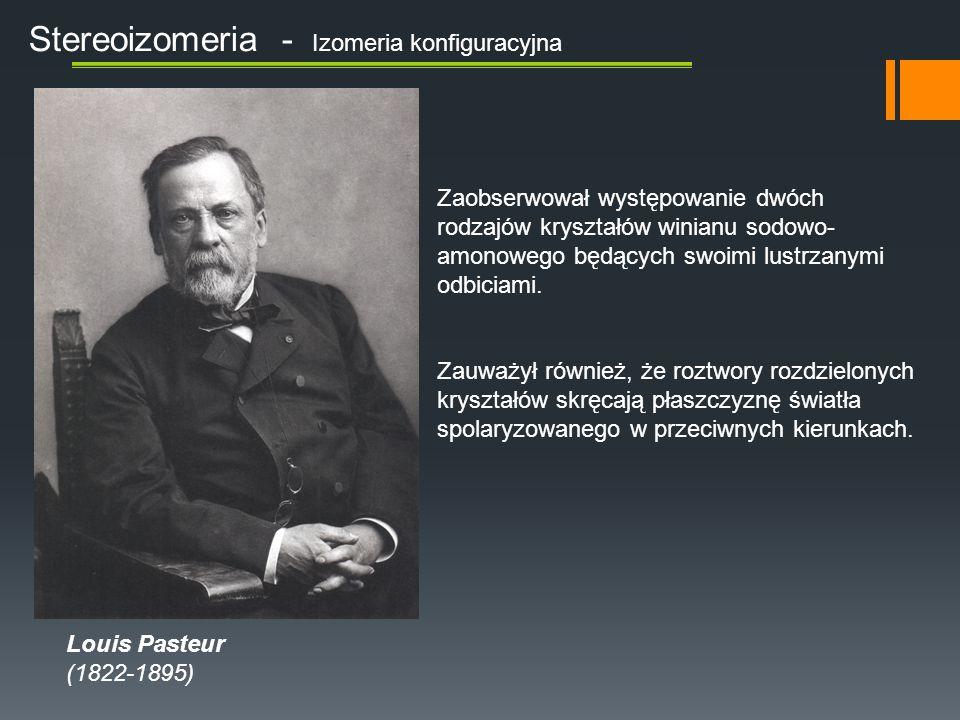 Stereoizomeria - Izomeria konfiguracyjna Louis Pasteur (1822-1895) Zaobserwował występowanie dwóch rodzajów kryształów winianu sodowo- amonowego będąc