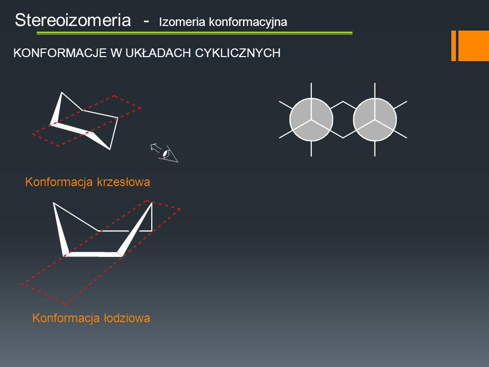 Stereoizomeria - Izomeria konfiguracyjna Mamy do czynienia z izomerem S Szeregujemy podstawniki: Patrzymy na zegarek Obracamy cząsteczkę i obserwujemy Śledzimy drogę