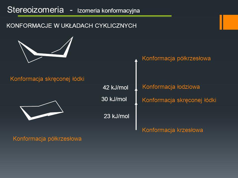 Stereoizomeria - Izomeria konformacyjna Wiązanie aksjalne – wiązanie w przybliżeniu prostopadłe do płaszczyzny pierścienia Wiązanie ekwatorialne – wiązanie w przybliżeniu równoległe do płaszczyzny pierścienia