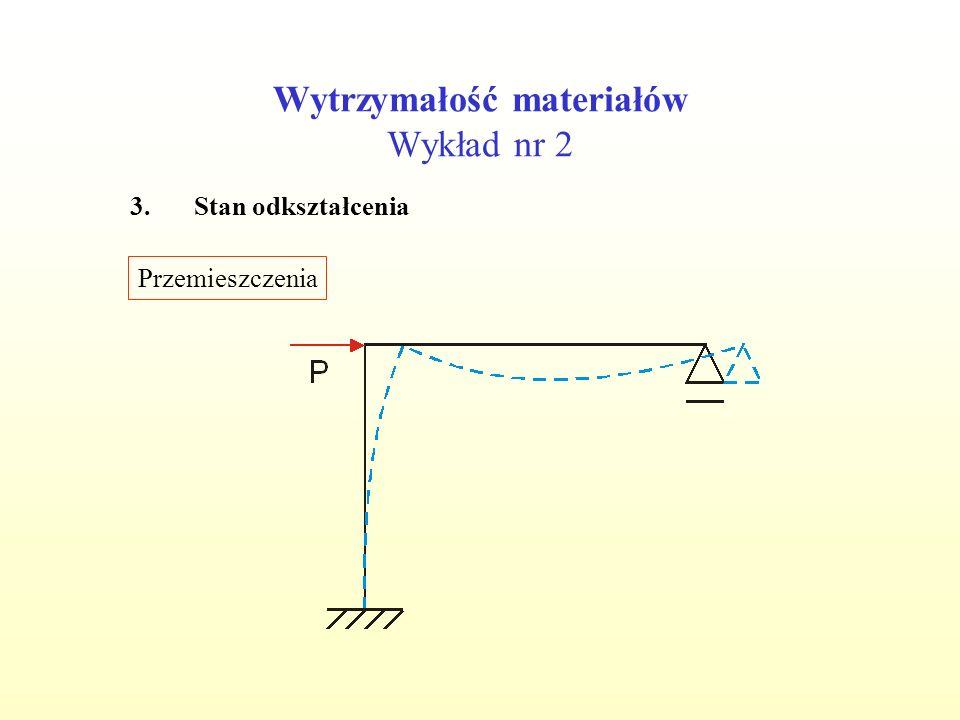 Wytrzymałość materiałów Wykład nr 2 3.Stan odkształcenia Przemieszczenia