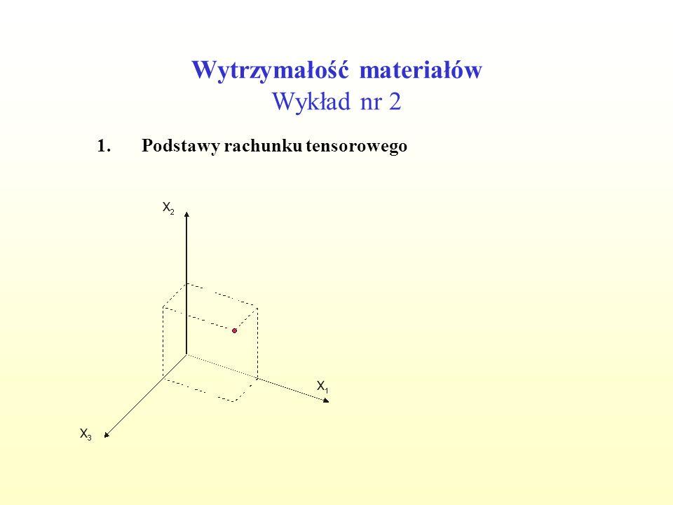Wytrzymałość materiałów Wykład nr 2 1.Podstawy rachunku tensorowego