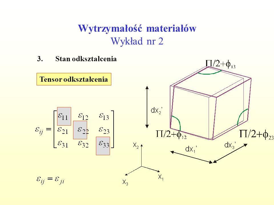 Wytrzymałość materiałów Wykład nr 2 3.Stan odkształcenia Tensor odkształcenia