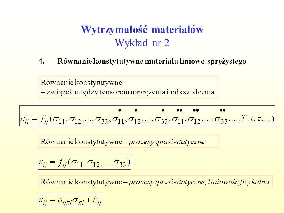 Wytrzymałość materiałów Wykład nr 2 4.Równanie konstytutywne materiału liniowo-sprężystego Równanie konstytutywne – związek między tensorem naprężenia