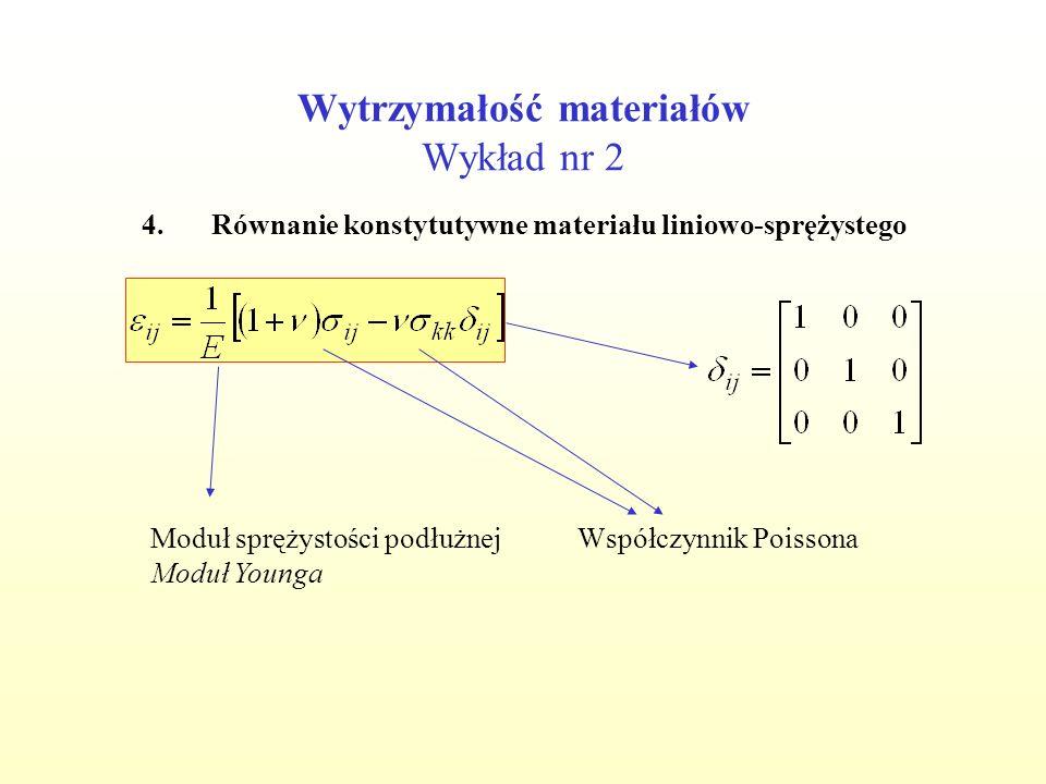 Wytrzymałość materiałów Wykład nr 2 4.Równanie konstytutywne materiału liniowo-sprężystego Moduł sprężystości podłużnej Moduł Younga Współczynnik Pois