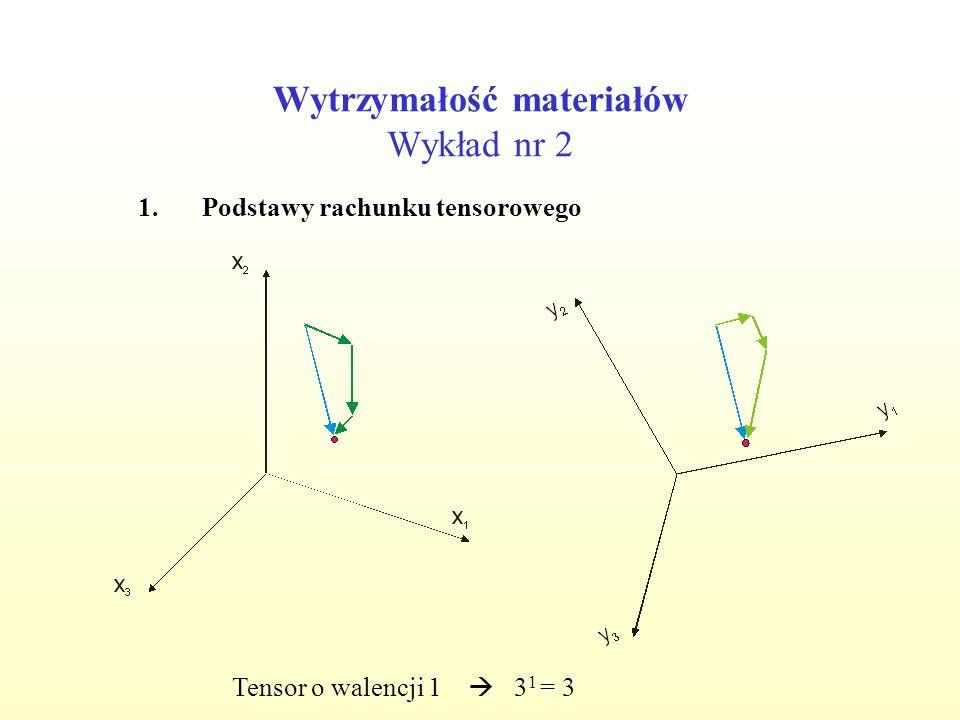 Wytrzymałość materiałów Wykład nr 2 1.Podstawy rachunku tensorowego Tensor o walencji 1 3 1 = 3b i, P j, q k Tensor o walencji 0 3 0 = 1a, T, Tensor o walencji 2 3 2 = 9 A ij, H jk, Z ik