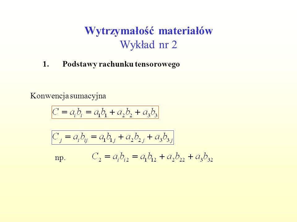 Wytrzymałość materiałów Wykład nr 2 1.Podstawy rachunku tensorowego Delta Kroneckera Symbol Ricciego