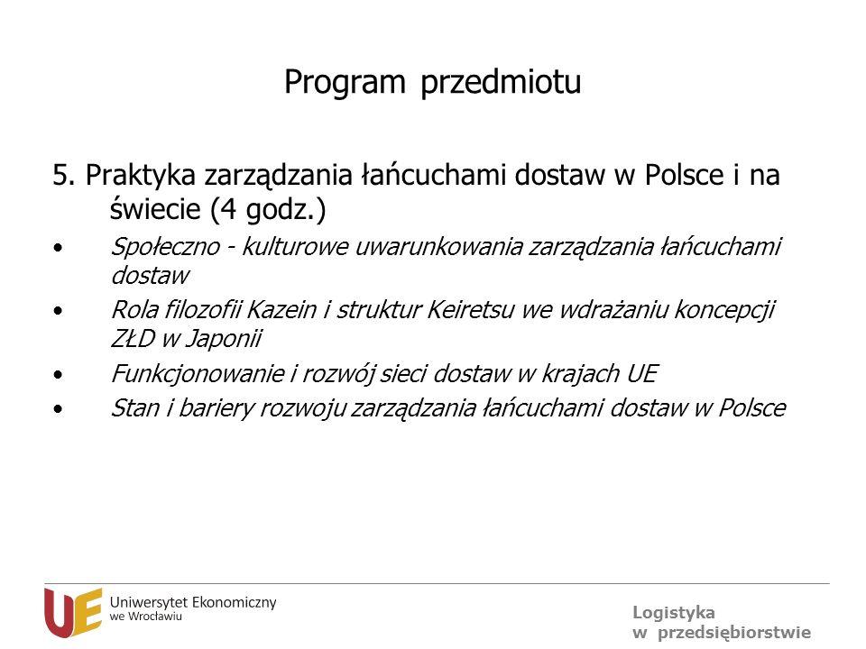 Logistyka w przedsiębiorstwie Program przedmiotu 5. Praktyka zarządzania łańcuchami dostaw w Polsce i na świecie (4 godz.) Społeczno - kulturowe uwaru