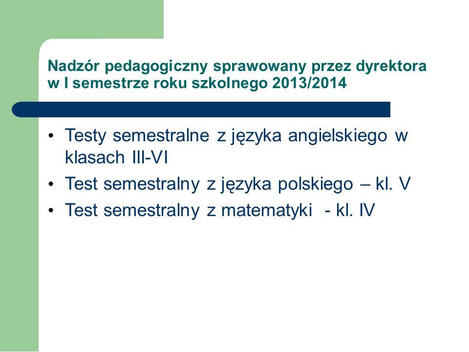 Wyniki testu próbnego w klasie VI przeprowadzonego w grudniu 2013r. Ilość uczniów piszących – 14 tj. 100%. 2 uczniów tj. 14,29% posiada opinie PPP. Uc