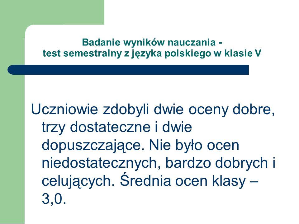 Badanie wyników nauczania - test semestralny z języka polskiego w klasie V Ilość uczniów Średni wynik Wynik procentowy SP w Dolistowe 714,0 pkt.58%