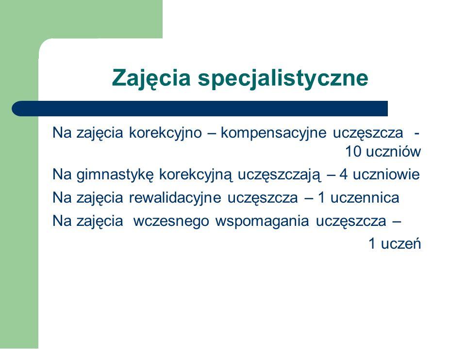 Zajęcia specjalistyczne Na zajęcia logopedyczne uczęszcza 8 uczniów klas I – IV, 5 uczniów kl.0 i 7 przedszkolaków. W Klubach Przedszkolaka poza zajęc