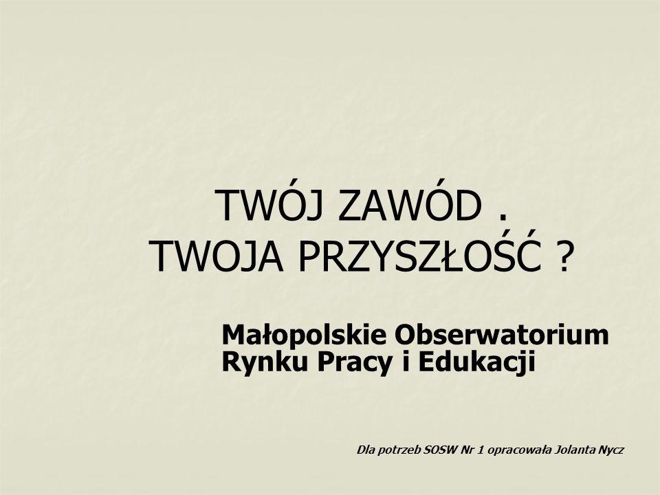 TWÓJ ZAWÓD. TWOJA PRZYSZŁOŚĆ ? Małopolskie Obserwatorium Rynku Pracy i Edukacji Dla potrzeb SOSW Nr 1 opracowała Jolanta Nycz