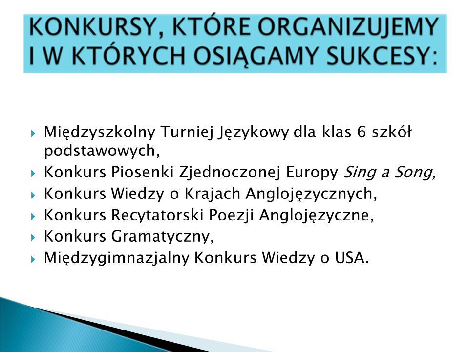 Międzyszkolny Turniej Językowy dla klas 6 szkół podstawowych, Konkurs Piosenki Zjednoczonej Europy Sing a Song, Konkurs Wiedzy o Krajach Anglojęzyczny