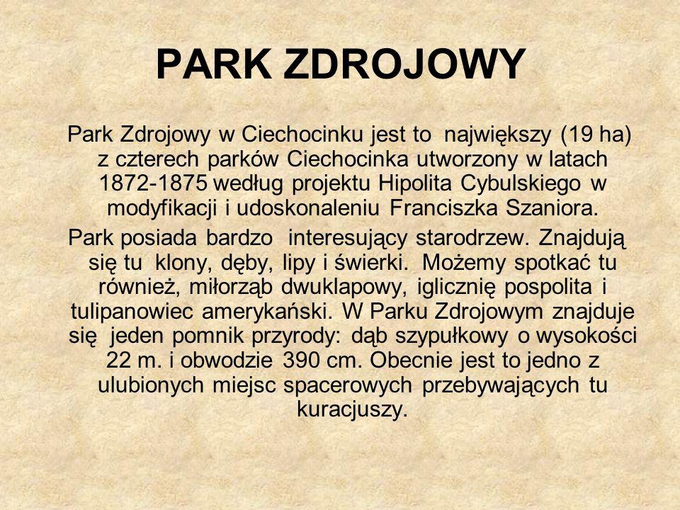 PARK ZDROJOWY Park Zdrojowy w Ciechocinku jest to największy (19 ha) z czterech parków Ciechocinka utworzony w latach 1872-1875 według projektu Hipolita Cybulskiego w modyfikacji i udoskonaleniu Franciszka Szaniora.