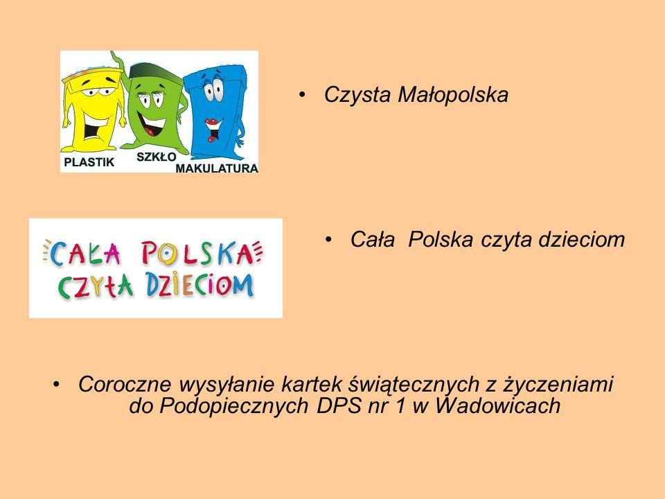 Czysta Małopolska Cała Polska czyta dzieciom Coroczne wysyłanie kartek świątecznych z życzeniami do Podopiecznych DPS nr 1 w Wadowicach