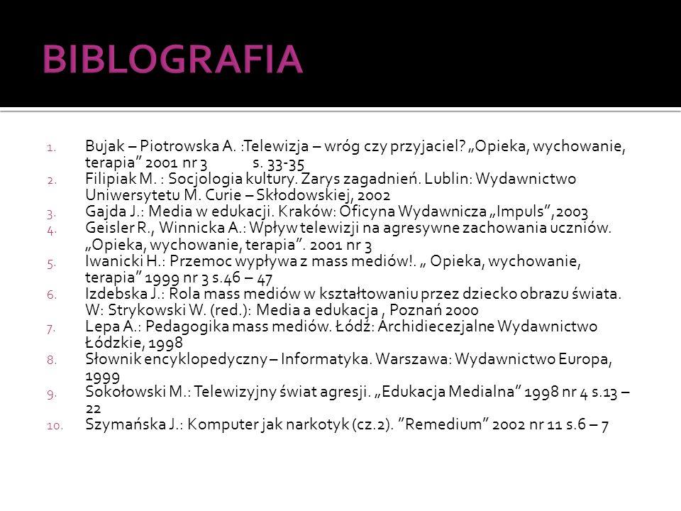 1. Bujak – Piotrowska A. :Telewizja – wróg czy przyjaciel? Opieka, wychowanie, terapia 2001 nr 3 s. 33-35 2. Filipiak M. : Socjologia kultury. Zarys z