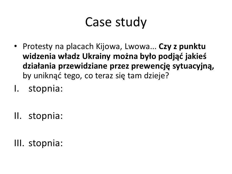 Case study Protesty na placach Kijowa, Lwowa... Czy z punktu widzenia władz Ukrainy można było podjąć jakieś działania przewidziane przez prewencję sy