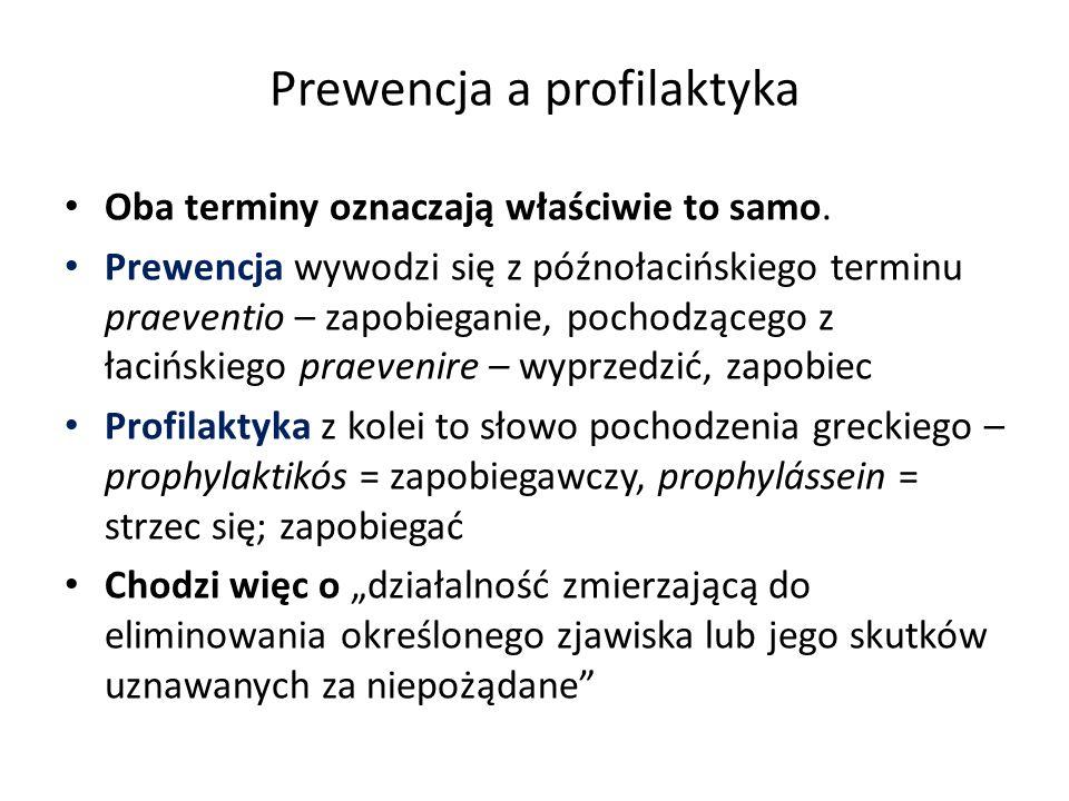 Prewencja a profilaktyka Oba terminy oznaczają właściwie to samo. Prewencja wywodzi się z późnołacińskiego terminu praeventio – zapobieganie, pochodzą
