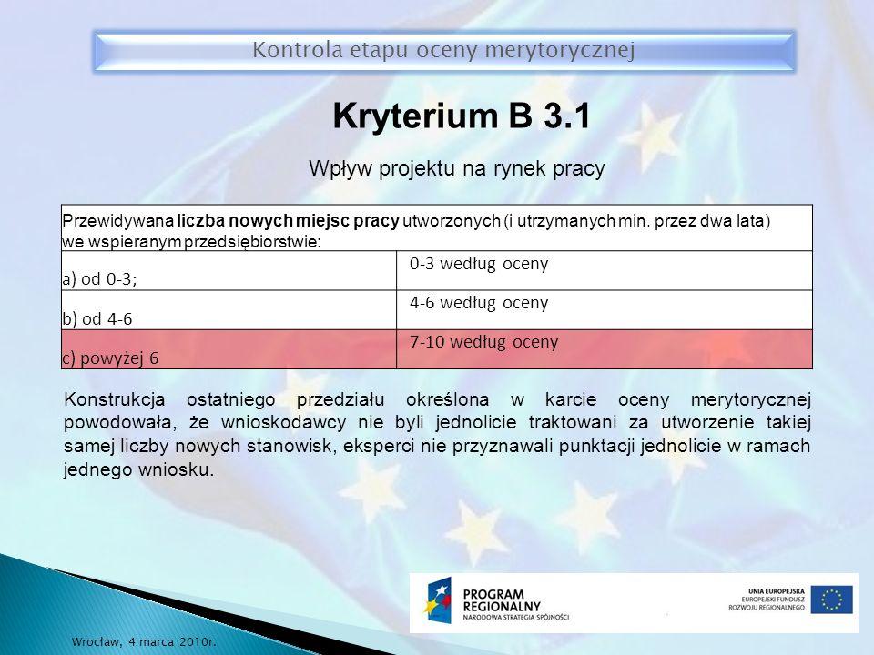 Kryterium B 3.1 Kontrola etapu oceny merytorycznej Wrocław, 4 marca 2010r.