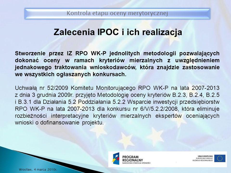 Kontrola etapu oceny merytorycznej Wrocław, 4 marca 2010r.
