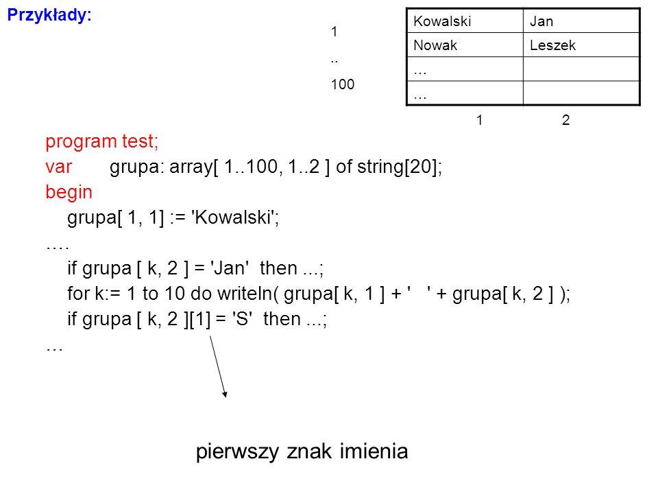 program test; var grupa: array[ 1..100, 1..2 ] of string[20]; begin grupa[ 1, 1] := Kowalski ; ….