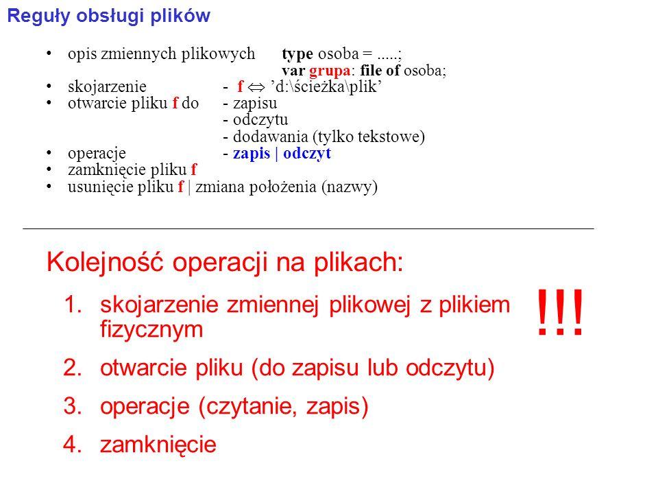 opis zmiennych plikowychtype osoba =.....; var grupa: file of osoba; skojarzenie- f d:\ścieżka\plik otwarcie pliku f do- zapisu - odczytu - dodawania (tylko tekstowe) operacje- zapis | odczyt zamknięcie pliku f usunięcie pliku f | zmiana położenia (nazwy) Reguły obsługi plików Kolejność operacji na plikach: 1.skojarzenie zmiennej plikowej z plikiem fizycznym 2.otwarcie pliku (do zapisu lub odczytu) 3.operacje (czytanie, zapis) 4.zamknięcie !!!