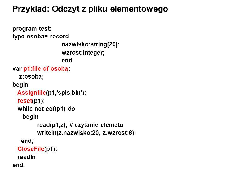 program test; type osoba= record nazwisko:string[20]; wzrost:integer; end var p1:file of osoba; z:osoba; begin Assignfile(p1, spis.bin ); reset(p1); while not eof(p1) do begin read(p1,z); // czytanie elemetu writeln(z.nazwisko:20, z.wzrost:6); end; CloseFile(p1); readln end.