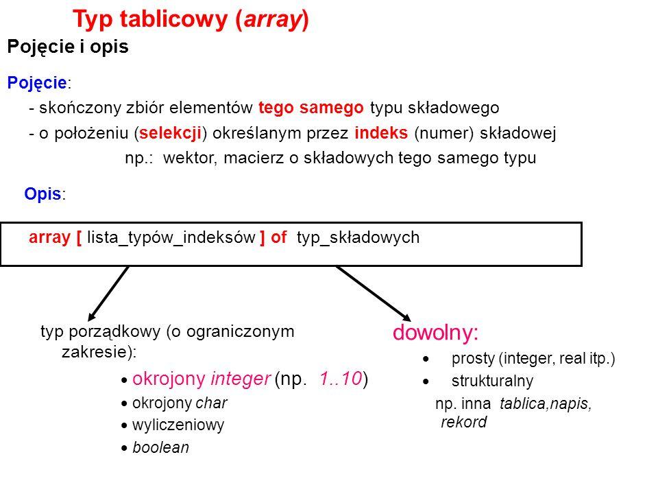 Typ tablicowy (array) Pojęcie i opis array [ lista_typów_indeksów ] of typ_składowych Pojęcie: - skończony zbiór elementów tego samego typu składowego - o położeniu (selekcji) określanym przez indeks (numer) składowej np.: wektor, macierz o składowych tego samego typu typ porządkowy (o ograniczonym zakresie): okrojony integer (np.