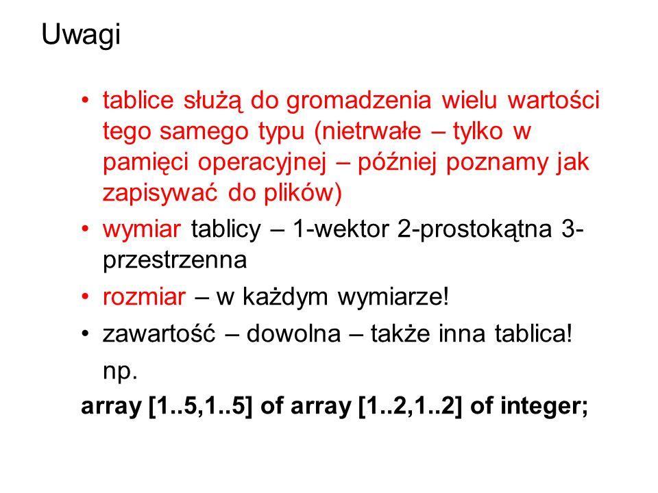 Uwagi tablice służą do gromadzenia wielu wartości tego samego typu (nietrwałe – tylko w pamięci operacyjnej – później poznamy jak zapisywać do plików) wymiar tablicy – 1-wektor 2-prostokątna 3- przestrzenna rozmiar – w każdym wymiarze.