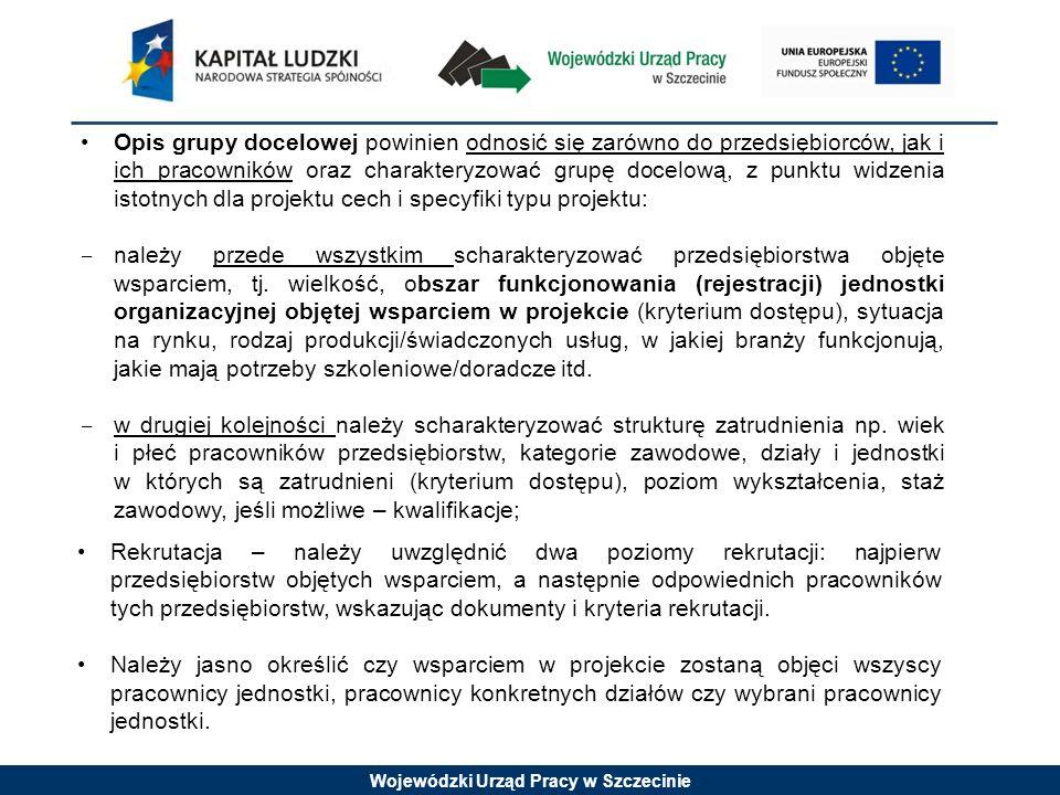 Wojewódzki Urząd Pracy w Szczecinie Opis grupy docelowej powinien odnosić się zarówno do przedsiębiorców, jak i ich pracowników oraz charakteryzować grupę docelową, z punktu widzenia istotnych dla projektu cech i specyfiki typu projektu: należy przede wszystkim scharakteryzować przedsiębiorstwa objęte wsparciem, tj.