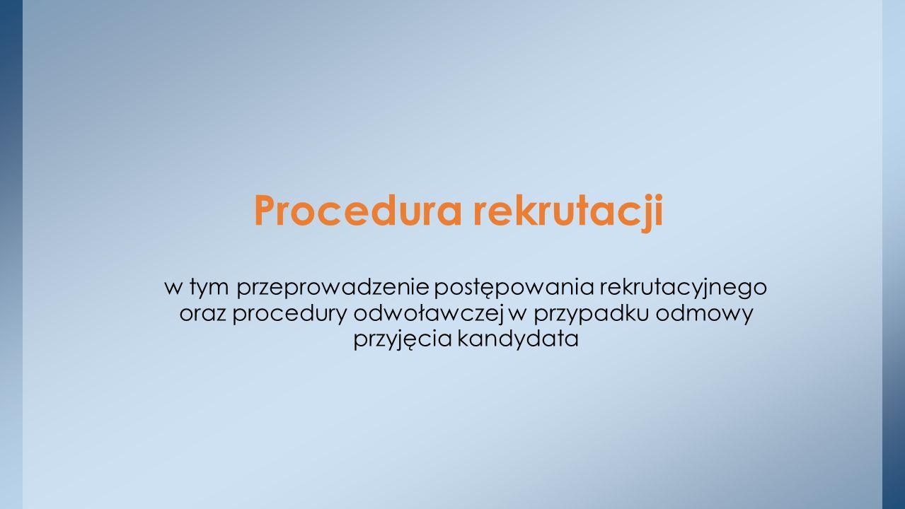 Procedura rekrutacji w tym przeprowadzenie postępowania rekrutacyjnego oraz procedury odwoławczej w przypadku odmowy przyjęcia kandydata