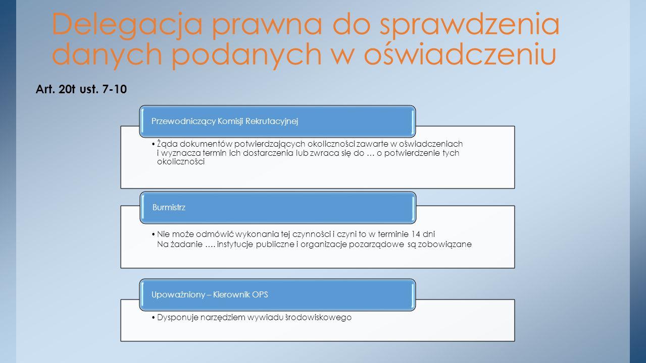 Art. 20t ust. 7-10 Delegacja prawna do sprawdzenia danych podanych w oświadczeniu Żąda dokumentów potwierdzających okoliczności zawarte w oświadczenia