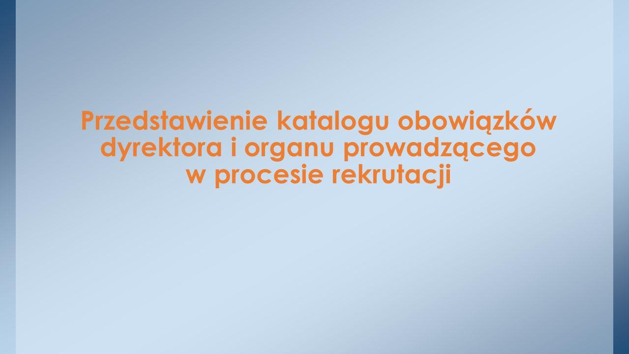 Przedstawienie katalogu obowiązków dyrektora i organu prowadzącego w procesie rekrutacji
