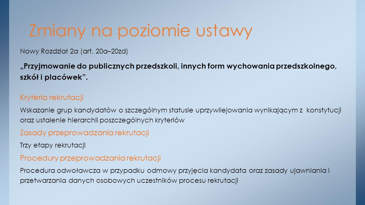Nowy Rozdział 2a (art. 20a–20zd) Przyjmowanie do publicznych przedszkoli, innych form wychowania przedszkolnego, szkół i placówek. Kryteria rekrutacji